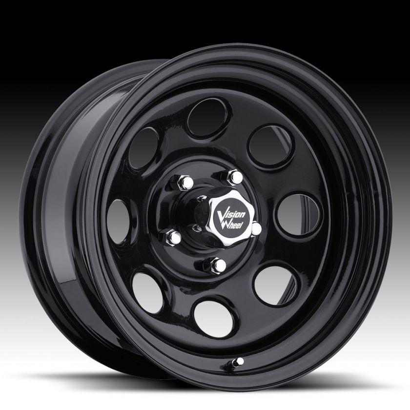 16x8  12 Vision Soft 8 Black Steel Wheels Rims 5x5 5x127 Set of 4
