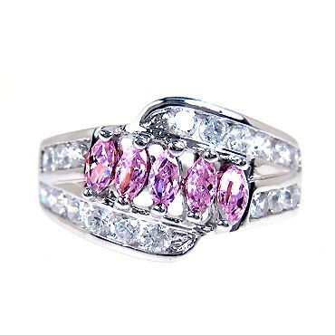 PERSONALIZED JEWELRY Marquise Pink Sapphire White Gold Plated Ring