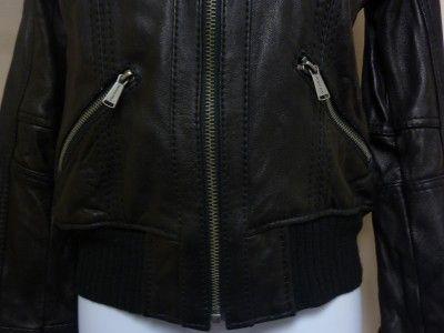 Michael Kors Womens Leather Motorcycle Jacket Coat Black Zipper Knit M