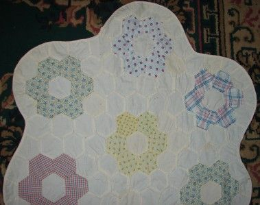 Vintage Hand Stitched Grandmothers Flower Garden Quilt Table Runner