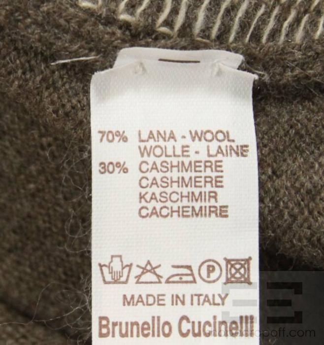 Brunello Cucinelli Taupe & Beige Striped Cashmere Mens Half Zip