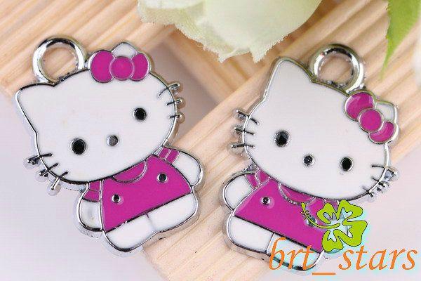 Tibetan silver Mix color hello kitty cat Pendants Charms 24*18mm TS103