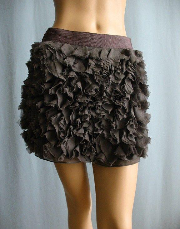 Haute Hippie Gray Silk Ruffle Mini Skirt Size Sz M