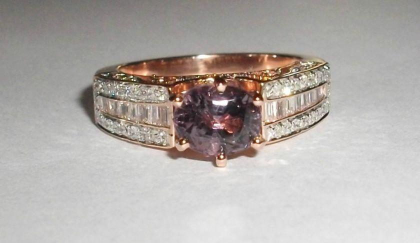 Oval Cut Purple Spinel & Baguette Diamond 14K Rose Gold Ring