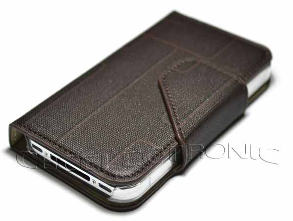 New Brown wallet PU Leather Cases Cover for iPhone 4 4G