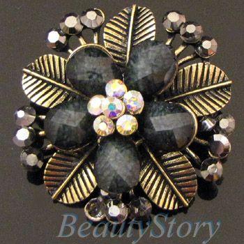 ADDL Item  1 pc antiqued rhinestone flower brooch pin