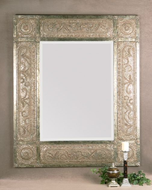 FRENCH Ornate Leaf Wall MIRROR Large Beveled Champagne