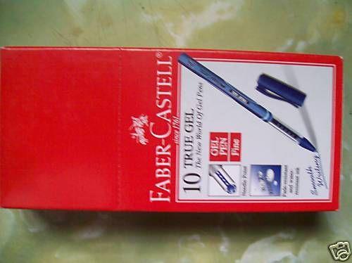 10 Faber Castell True Gel Needle Point Pen 0.7mm Fine